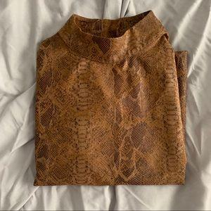 Zara Mock neck leather snakeskin top
